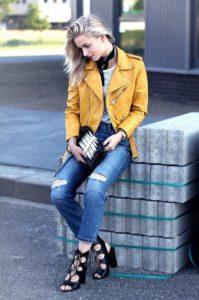 Жёлтая замшевая куртка