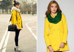 Зелёный и кремовый шарф под жёлтое пальто