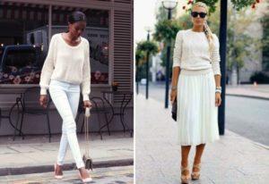 Белый свитер с белыми брюками и юбкой