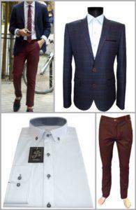 стилный образ с бордовыми брюками