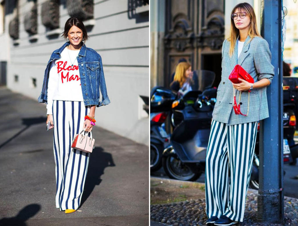 Создаём стильные и эффектные образы с брюками в полоску 1
