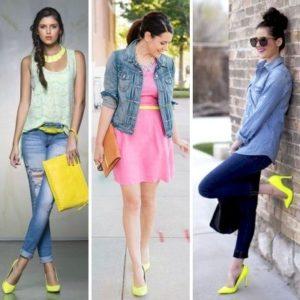 Жёлтые туфли с разными образами