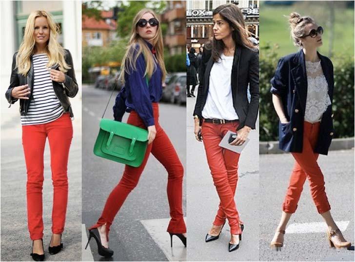 С чем носить красные брюки 4