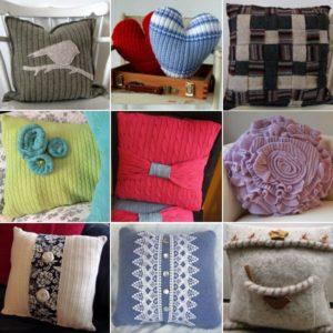 Весёлые подушки из свитера