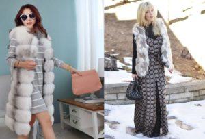 Длинные платья с жилетами из меха