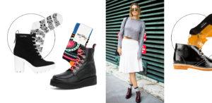девушка в белой юбке и ботинках с носками