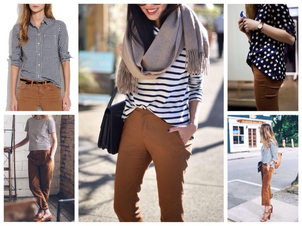 С чем носить женские коричневые брюки 3