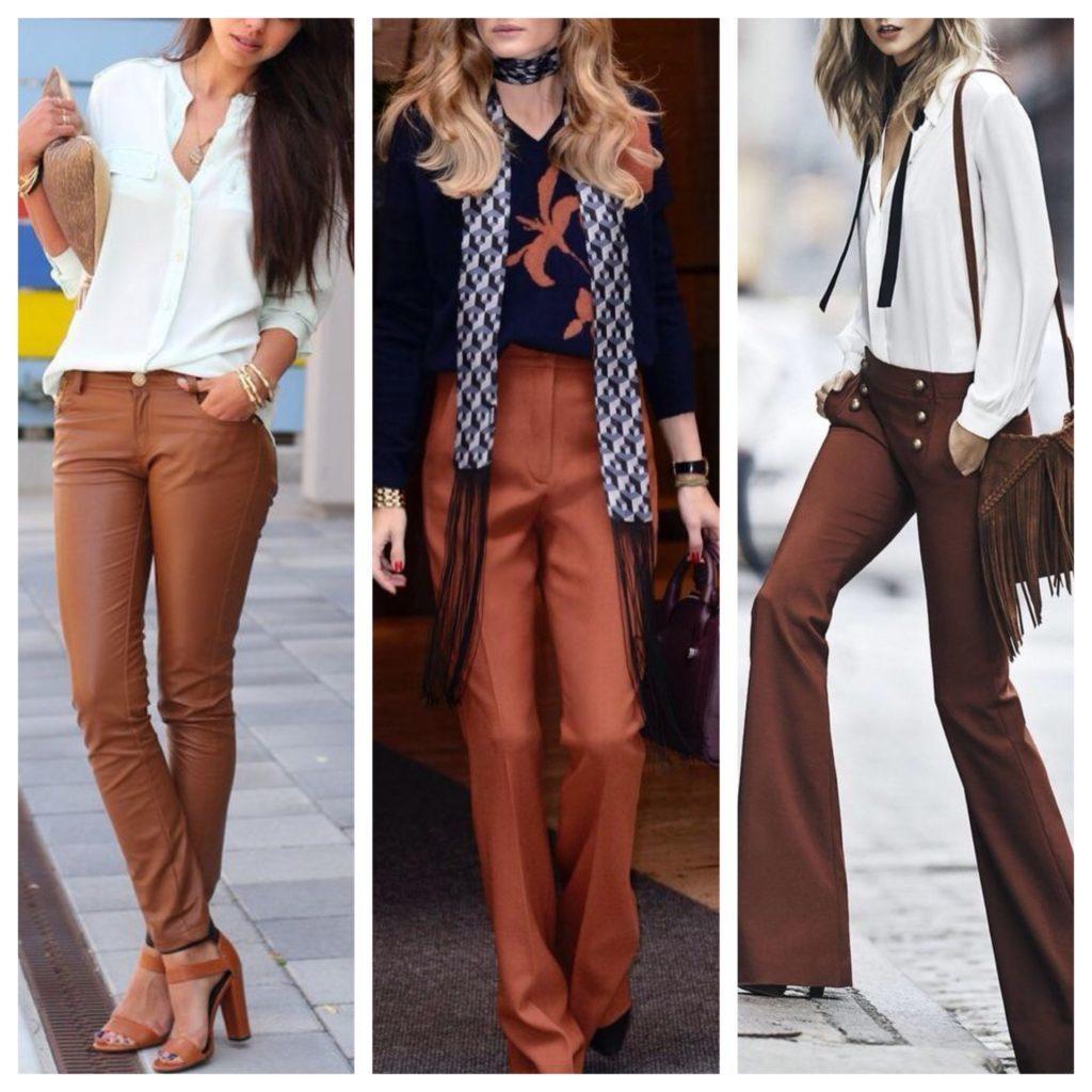 С чем носить женские коричневые брюки 1