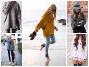как носить объёмный свитер