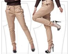 как пошить брюки женские, зауженные к низу
