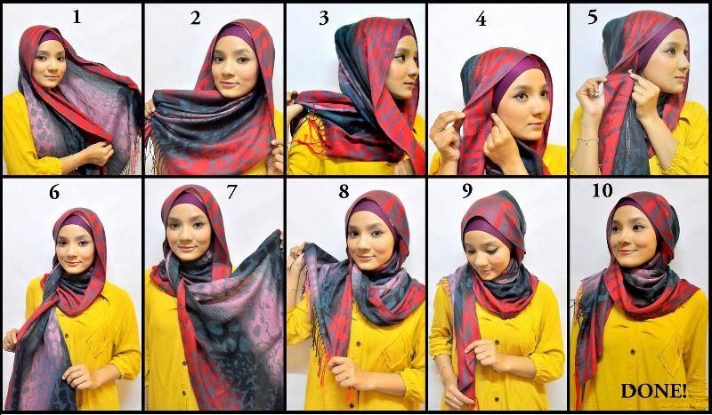 как завязать хиджаб красиов