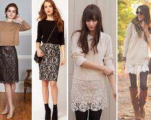гипюровая юбка со свитером