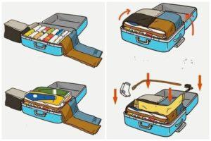как сложить брюки в чемодан