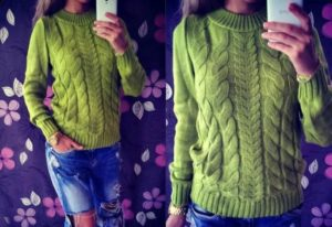 зеленый акриловый свитер