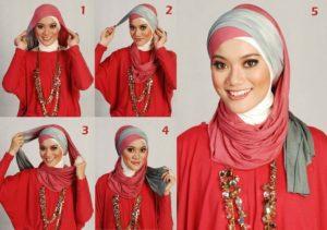платок  по мусульмански многослойно