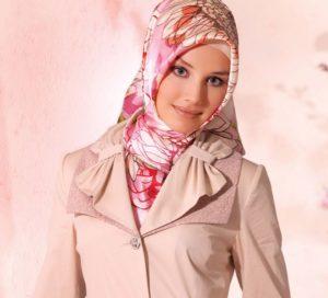 платок  по мусульмански V-образный способ
