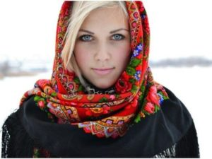 павлопосадский платок на пальто