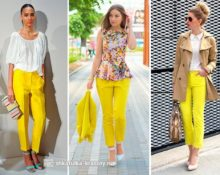 девушки в желтых брюках