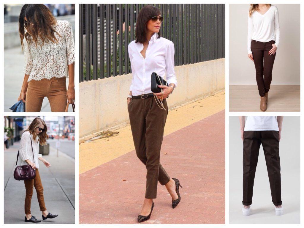 С чем носить женские коричневые брюки