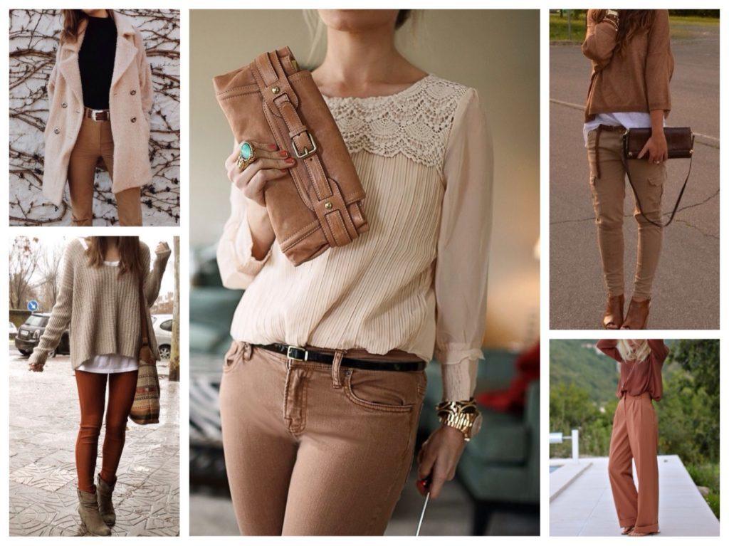 С чем носить женские коричневые брюки 4