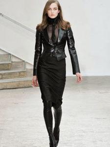 кожаная куртка и юбка