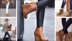 Светол-коричневые ботинки на платформе