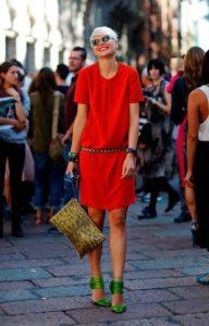 зелёные туфли к красному платью