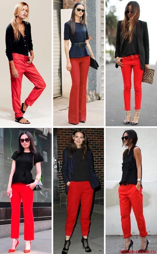 С чем носить красные брюки 3
