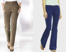 модели женских вельветовых брюк