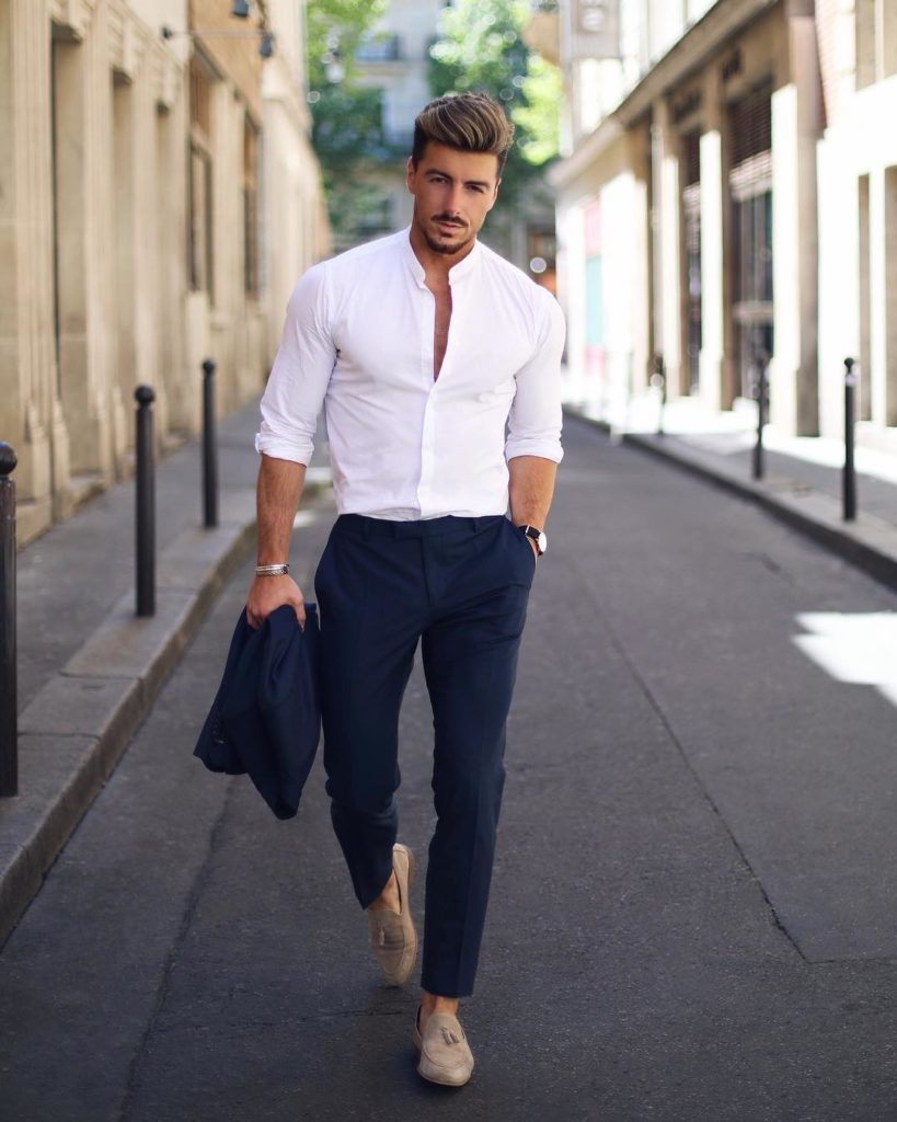 укороченные мужские черные брюки