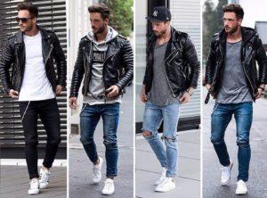 мужские джинсы и кожанка