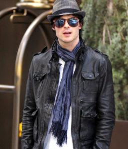 мужской шарф под кожаную куртку