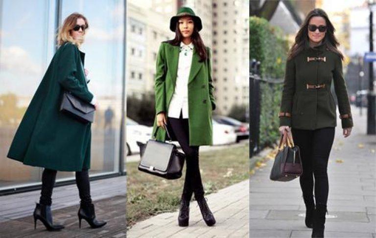 с чем носить женское пальто зеленого цвета
