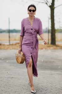 платье халат на пуговицах с низким ходом