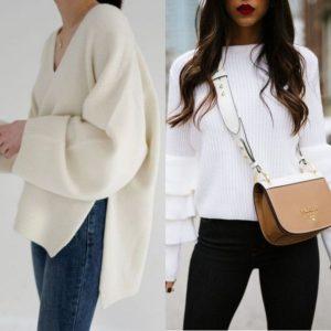 Романтический образ белых свитеров