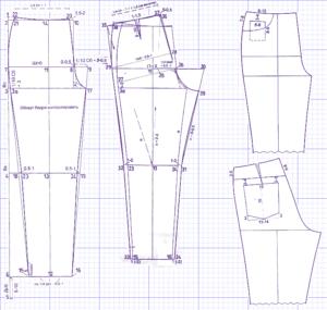 построение выкройки зауженных женских брюк