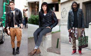 разные штаны и мужская кожаная куртка
