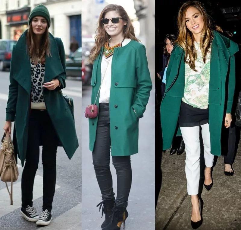Подбираем одежду в зависимости от оттенка зеленого пальто