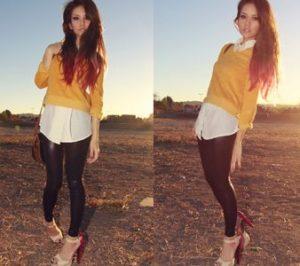 горчичный свитер с рубашкой и леггинсами