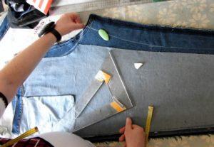ушивание джинсов раскрой
