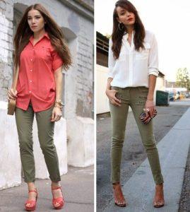 яркая блуза и хаки