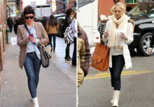 белые ботинки с джинсами