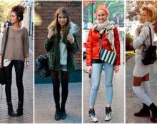 девушки в ботинках без каблуков