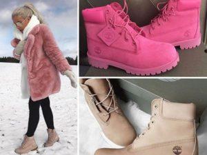 розовые тимберленды зимой