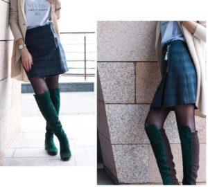 черная юбка и зеленые ботфорты