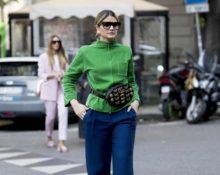 зеленый свитер синие брюки