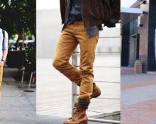 мужчины в горчичных брюках
