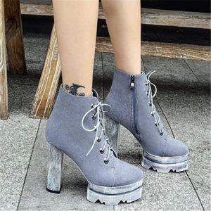 Серые ботинки на толстой подошве