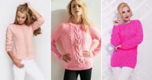 сочетания модного розового свитер