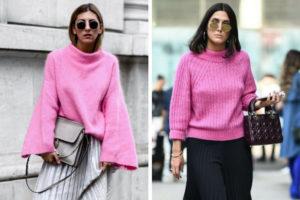 сочетания розового свитера